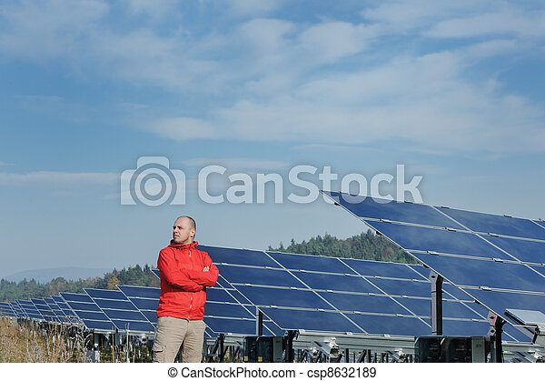 Male solar panel engineer at work place - csp8632189
