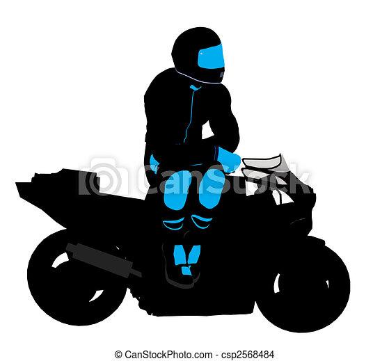 Male Sports Biker Illustration Silhouette - csp2568484