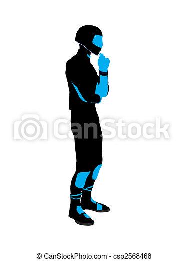 Male Sports Biker Illustration Silhouette - csp2568468