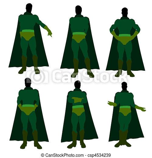 Male Super Hero Illustration Silhouette - csp4534239