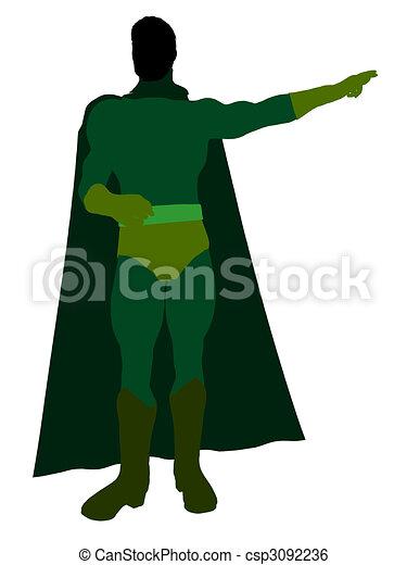 Male Super Hero Illustration Silhouette - csp3092236