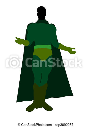 Male Super Hero Illustration Silhouette - csp3092257