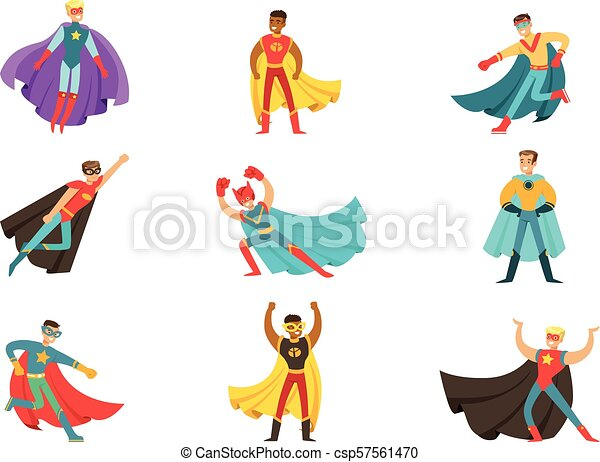 Male Superheroes In Classic Comics Costumes With Capes Set Of Smiling Flat Cartoon Characters With Super Powers Collection Canstock