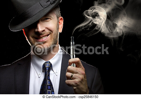 Male Vaping with E-Cigarette - csp25846150