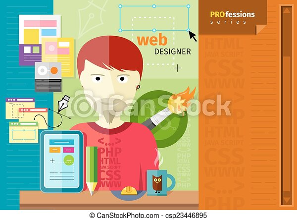 Male web designer with tablet on workplace - csp23446895