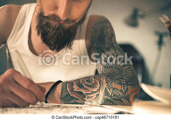 Male with image on arm drawing art - csp46710181