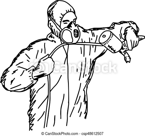male worker holding airbrush gun with copyspace - vector illustration  sketch hand drawn with black lines, isolated on white background