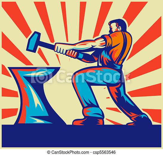 male worker or blacksmith striking  - csp5563546