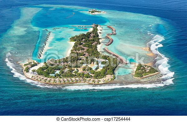malediwy, powietrze, morze, wyspa - csp17254444