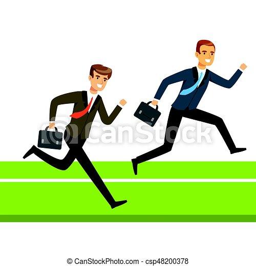 Dos hombres de negocios corriendo con maletín, gente de negocios compitiendo con vectores de ilustración - csp48200378