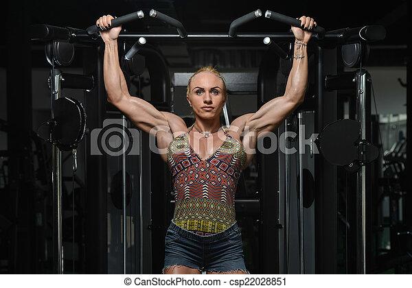 malhação, mulher, queixo, costas, ups - csp22028851