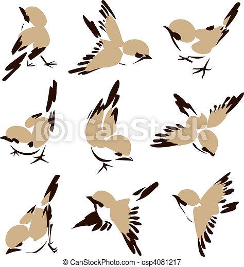 maličký, ptáček, ilustrace - csp4081217
