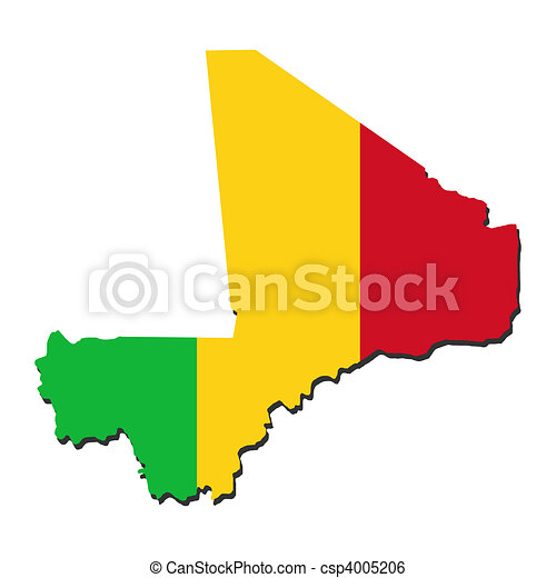 Mali map flag. Map of mali and their flag illustration.