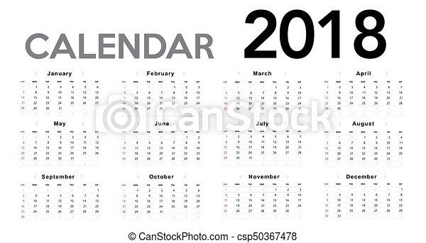 mall, 2017, kalender, startar, söndag, vecka, design. - csp50367478