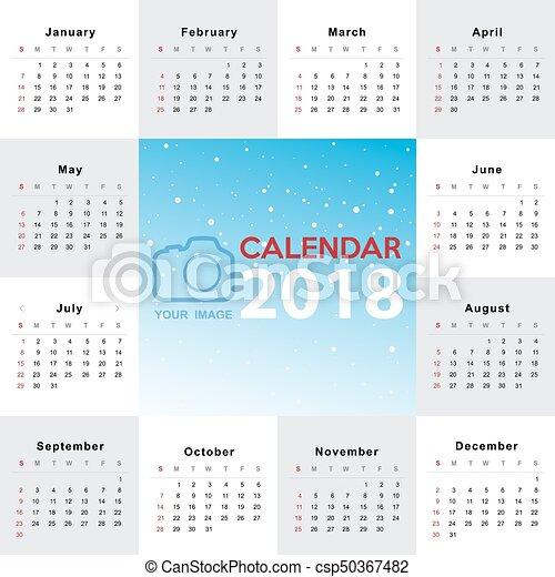 mall, 2017, kalender, startar, söndag, vecka, design. - csp50367482
