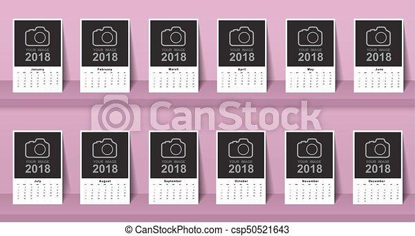 mall, 2017, kalender, startar, söndag, vecka, design. - csp50521643