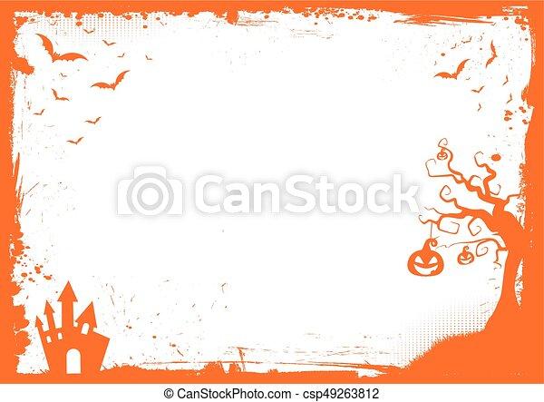 mall, halloween, element, bakgrund, apelsin gräns - csp49263812