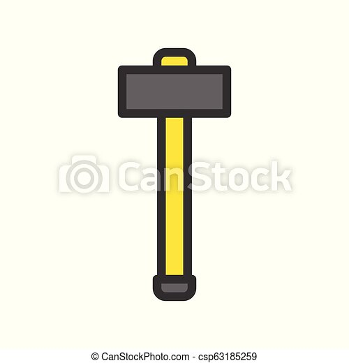 Mallet, handyman tool filled outline vector icon - csp63185259