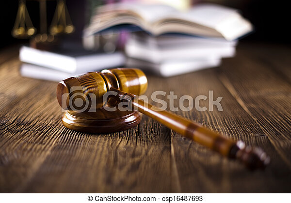 Mallet of judge, legal code, scale - csp16487693
