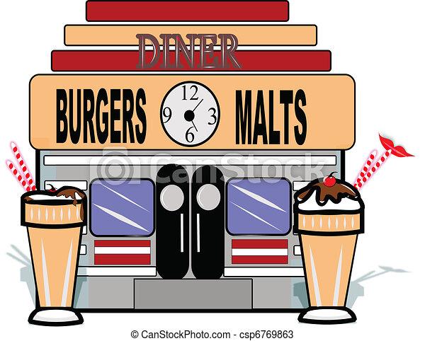 Malt shop retro background. Malt shop diner on white with ...