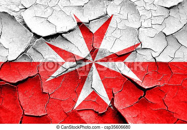 Malta Knights Flag Symbol With Cracks And Grunge Design