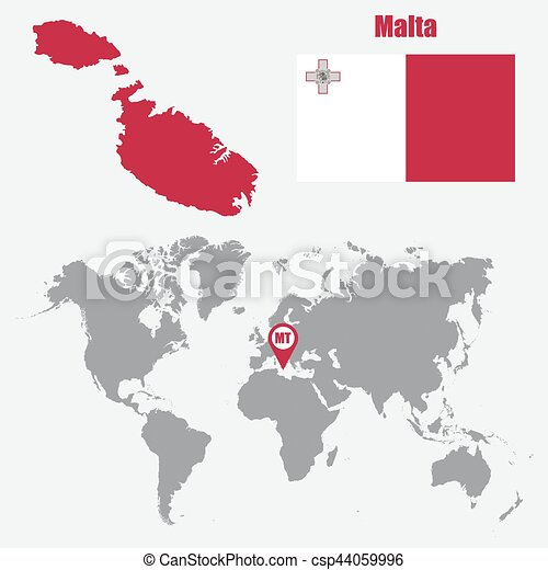 Malta map on a world map with flag and map pointer. vector illustration.