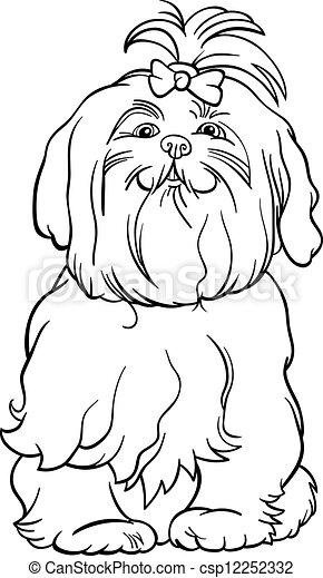 maltais, livre, coloration, chien, dessin animé - csp12252332