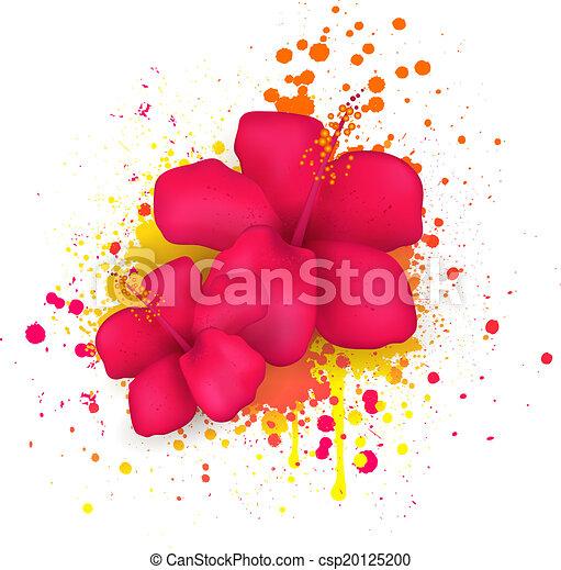 malwa, kwiaty, grunge, tło - csp20125200