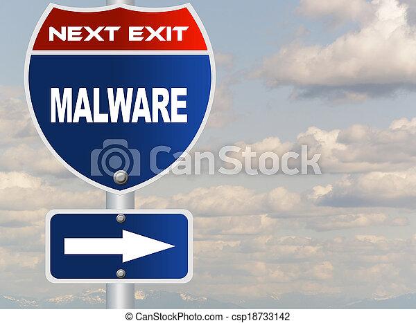 Malware road sign  - csp18733142