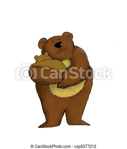 Mama Bear Cartoon Of A Mother Bear Holding Her Baby