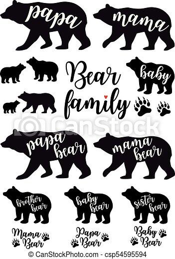 Mama Bear Papa Baby Vector Set