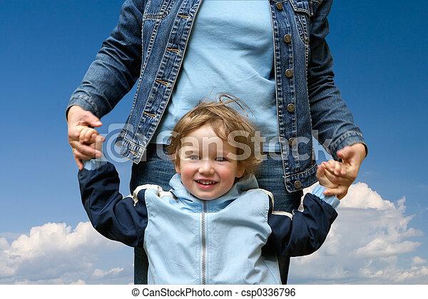 mamma, felice, bambino - csp0336796