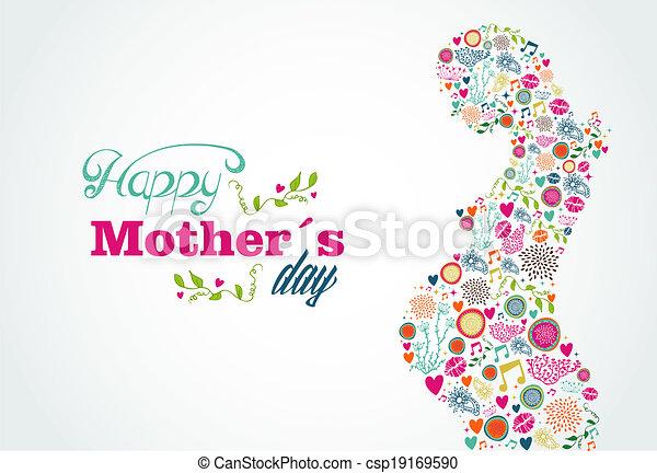 manželka, silueta, matký, plný, ilustrace, šťastný - csp19169590