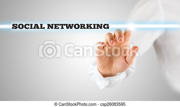 Man activating a Social networking search bar on a virtual scree - csp26083595