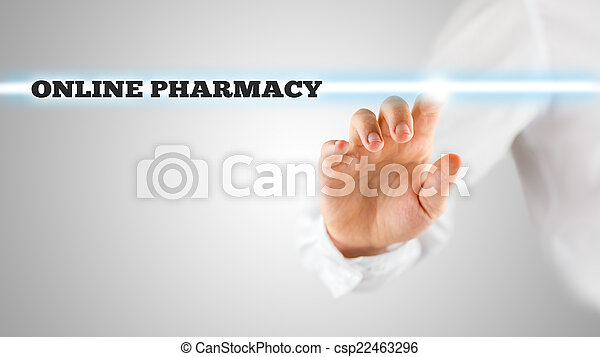 Man activating an online pharmacy search bar - csp22463296