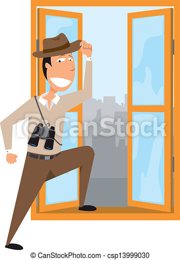 Man adventuring out of his office - csp13999030