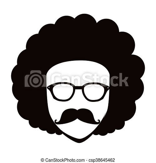 man afro glasses cartoon isolated flat icon with black and rh canstockphoto com afro clipart png clip art for glasses