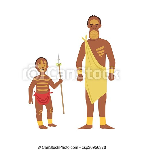 Man And Boy From African Native Tribe - csp38956378
