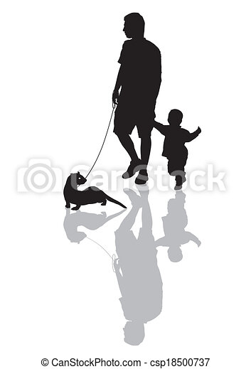 Man and child with a ferret on a le - csp18500737