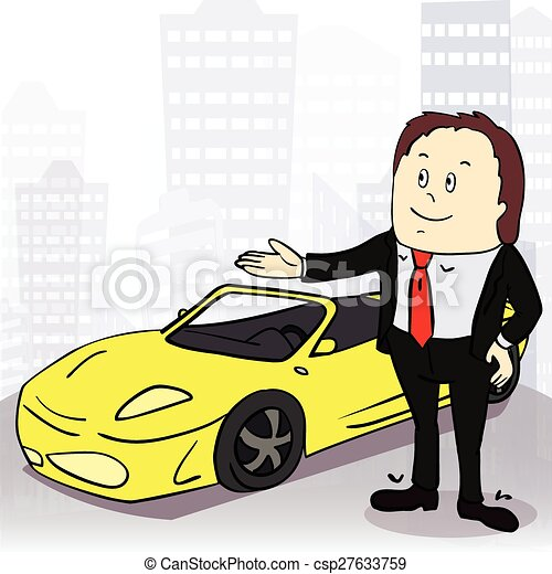 Business Man And Comfortable Car In Big City Vector