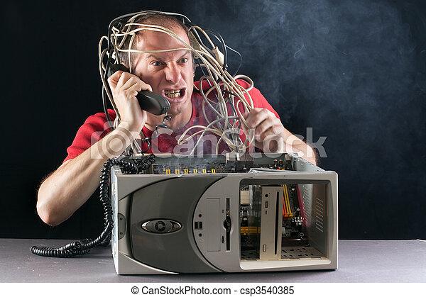 man and computer burning - csp3540385