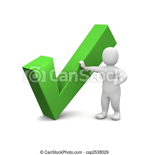 Man and green check mark. 3d rendered illustration. - csp2538029