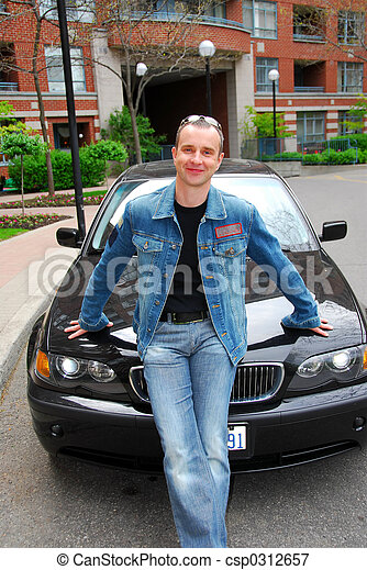 Man and his car - csp0312657
