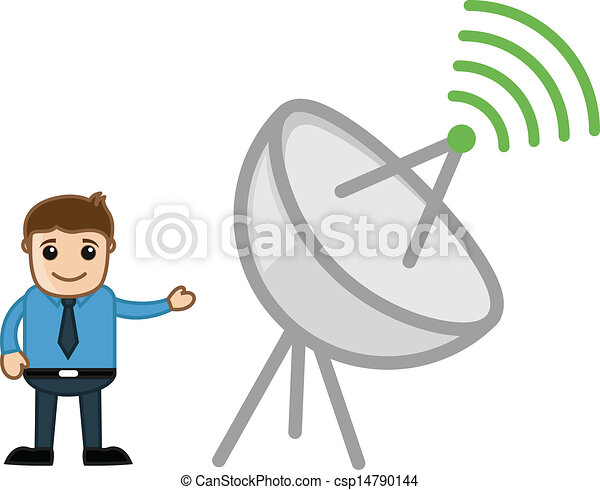Man and Internet Broadcast Antenna