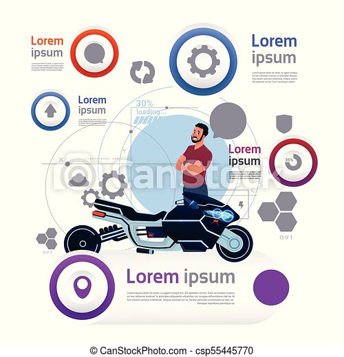 man and motorcycle over template transportation infographics banner