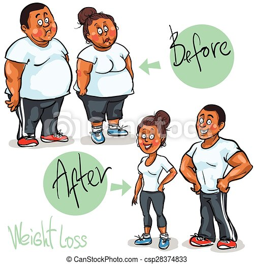 Man and Woman achieving their Weight-Loss goal. - csp28374833