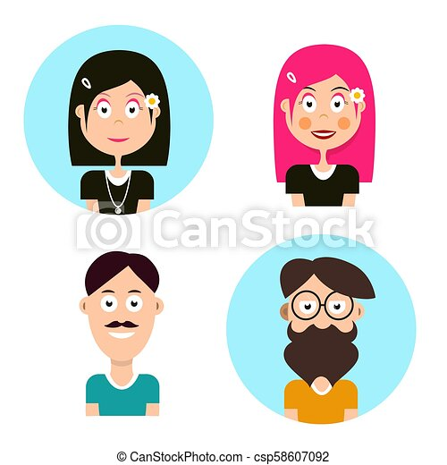 Man and Woman Avatars. Vector People Characters. Men and Women Icons. - csp58607092