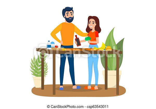 Man and woman cooking together. Husband and wife - csp63543011