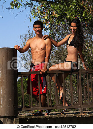 Man And Woman Couple Swim Suit Outdoors - csp12512702