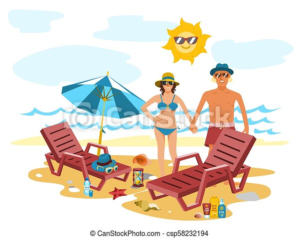 Man and woman couple vacation summer time on the beach sand tropical nature vector illustration. - csp58232194